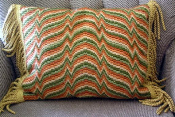 Vintage Bargello Needlepoint Pillow Cover