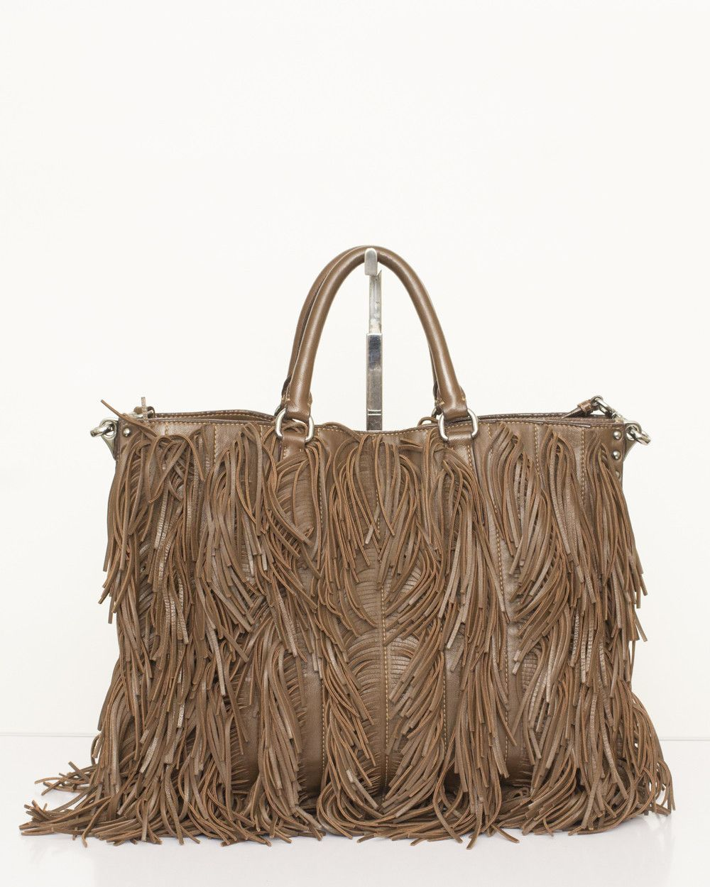 0e617c5715b8 Prada Brown Nappa Fringe Tote Bag | Handbags I love | Bags, Prada ...