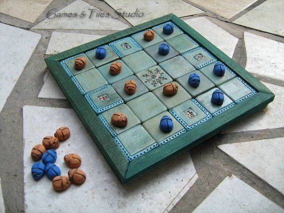 Case Blue Board Game : Egyptian seega game board with midnight blue sand yellow scarab