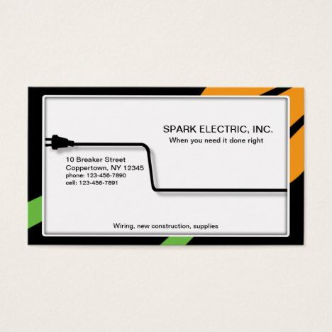A Professional Electrician Is Plugged In Business Card Zazzle Com In 2021 Modern Business Cards Design Business Card Photoshop Electrician