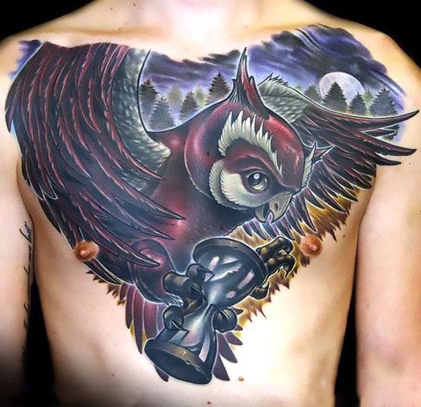 Best New School Owl With Hourglass Tattoo Idea Tatuajes New School