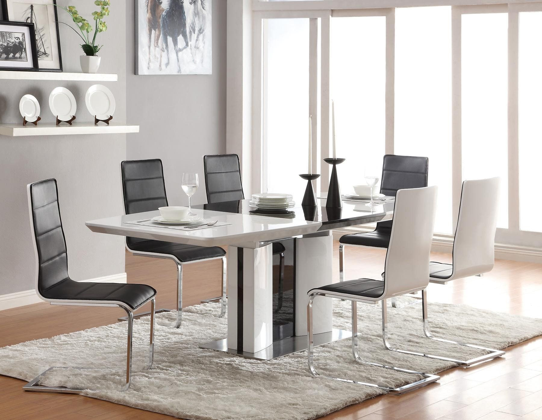 Modern Italian Dining Room Furniture Sets With Black And White Pedestal Dining  Table Using Metal Base Table Also Modern Dining Chairs And White Shag Rug  ...
