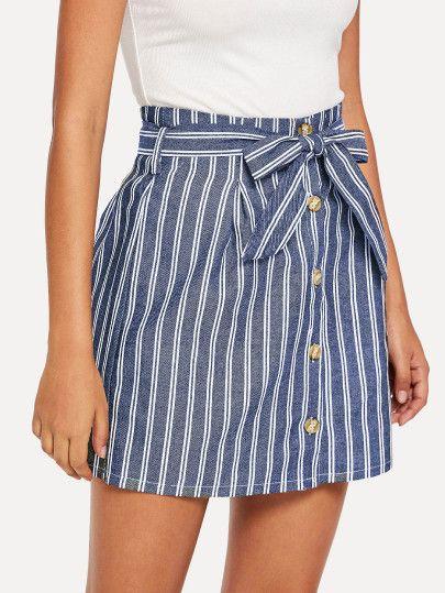 2316272ea Falda de rayas con botón | faldas dos en 2019 | Faldas de rayas ...