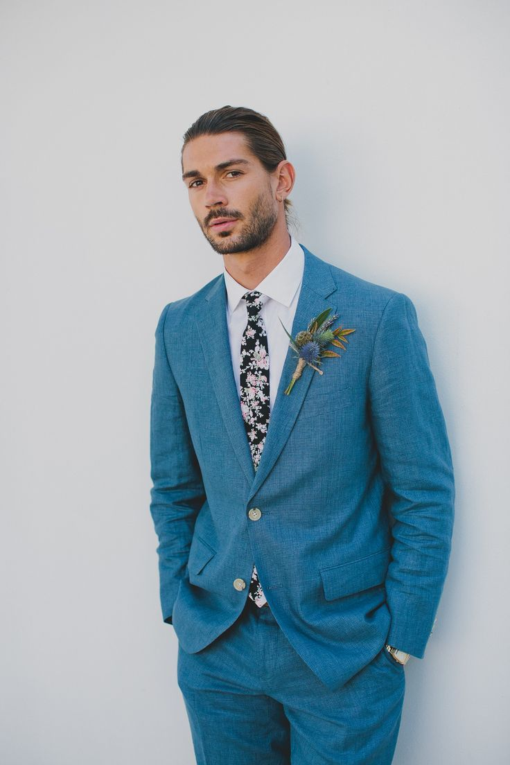blue suit and floral tie for the groom | The Groom / Weddings ...
