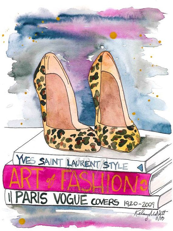 Fashion Illustration Watercolor Painting Print The Leopard Heel — Home/office decor and wall art, Fashion prints Leopard shoes
