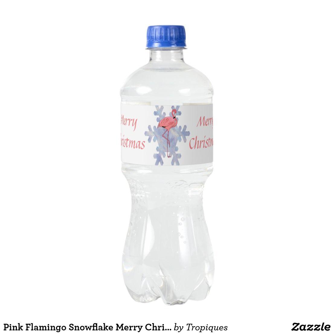 Pink Flamingo Snowflake Merry Christmas Water Bottle Label