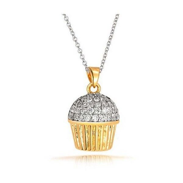 Bling Jewelry Cute Mini Bakers Two Tone CZ Cupcake Necklace 18in ($31) ❤ liked on Polyvore featuring jewelry, necklaces, clear, cz necklace, adjustable chain necklace, chain necklace, long pink necklace and cubic zirconia pendant necklace