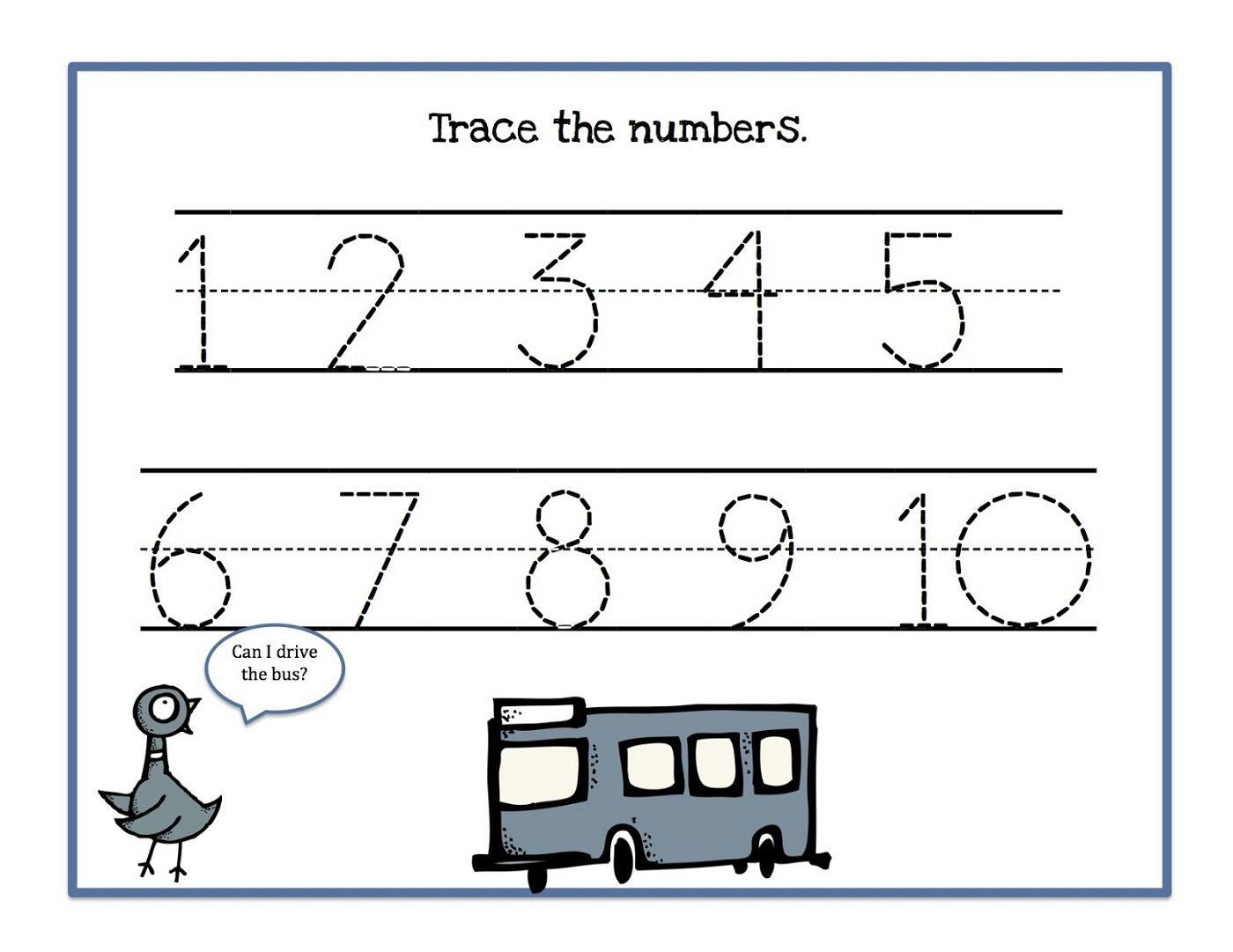 Traceable Numbers 110 Worksheets to Print – Worksheets to Print