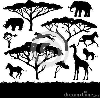 Árboles y animales africanos, sistema de siluetas | Recámara Safari ...