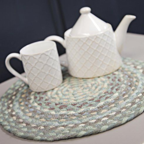 the braided rug company round braided placemat sea spray the