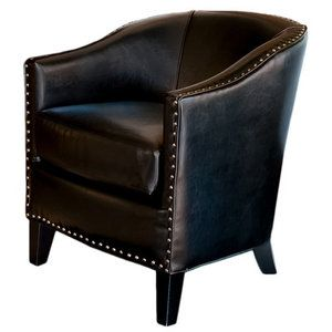 Walmart Home Loft Concept Starks Leather Studded Club Chair Black Leather Club Chair Leather Club Chairs Club Chairs