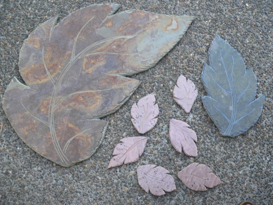 You can create leaves out of flagstone, slate or quartzite with tools like a wet tile saw, grinder and diamond blade saw.
