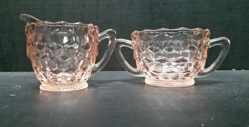 Pink Cubist Creamer Sugar Depression Glass Jeanette EUC Pair 2pc Vintage Kitchen