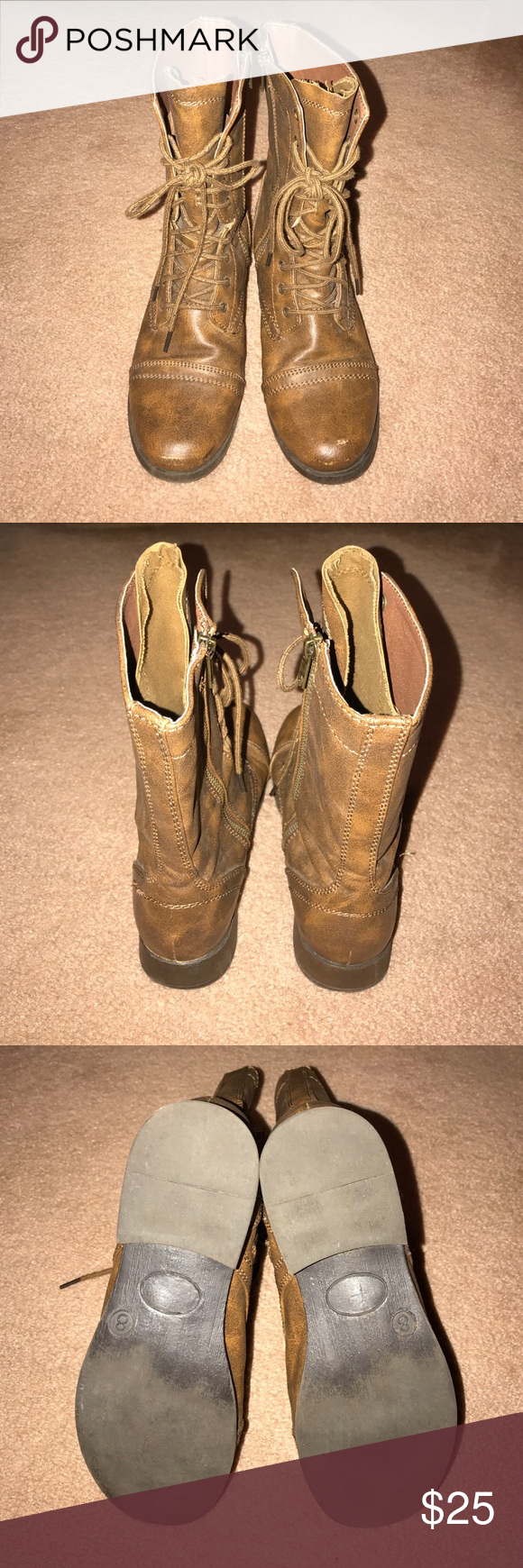 Brown Combat Boots Worn about 5 times, great condition combat boots. Super cute, they go with anything! No trades please. Shoes Combat & Moto Boots