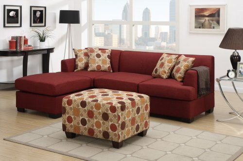 F7962 + F7961 - Dark Red Sectional Sofa - Furniture2Go