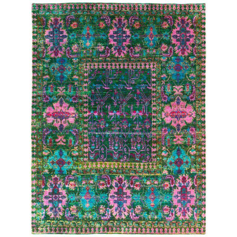 New Mamluk Style Green And Pink Sari Silk Rug Rugs Indian Rugs