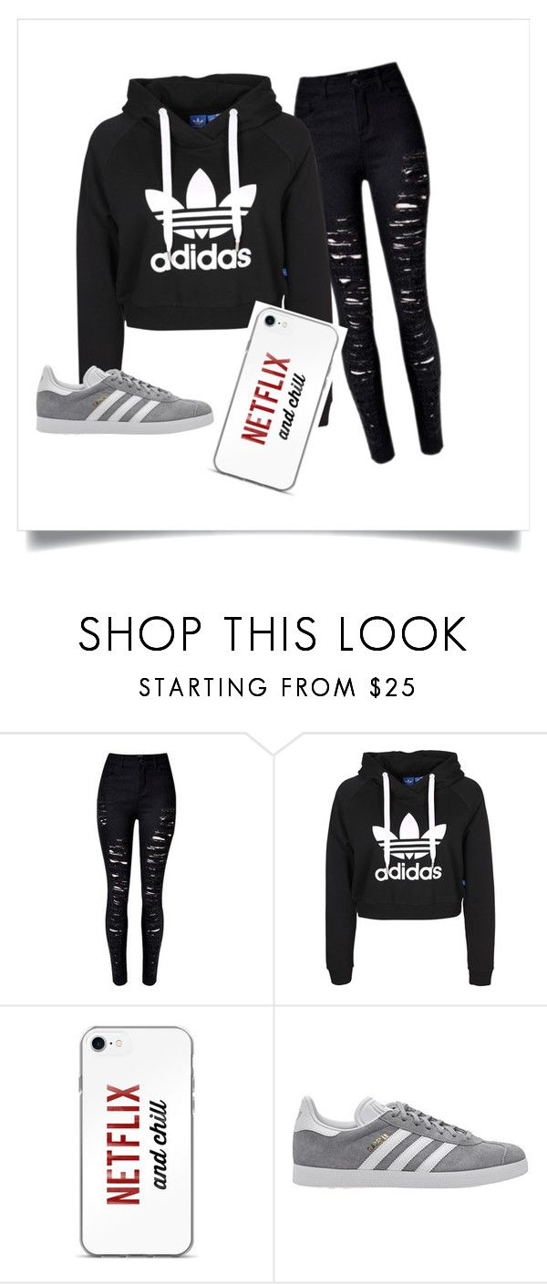 """""""Black & Chill"""" by linmil on Polyvore featuring adidas Originals"""