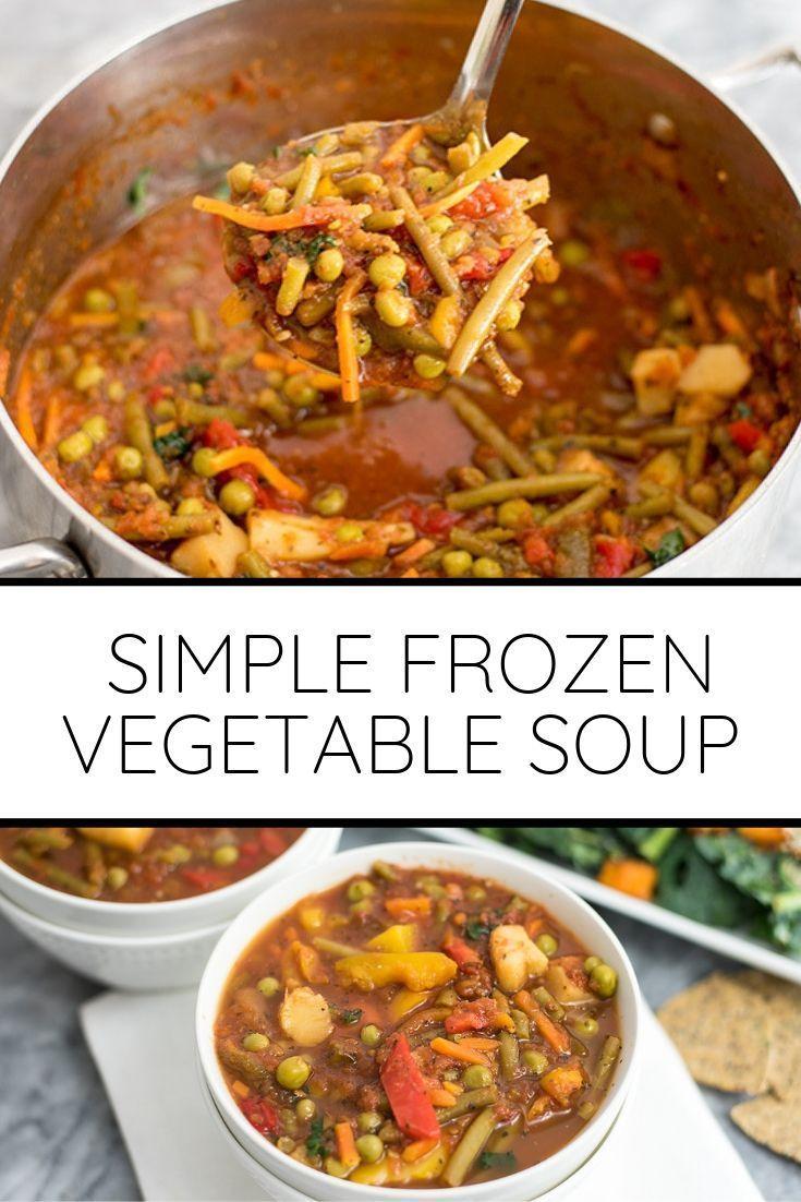 Simple Frozen Vegetable Soup (Vegan, Whole30)