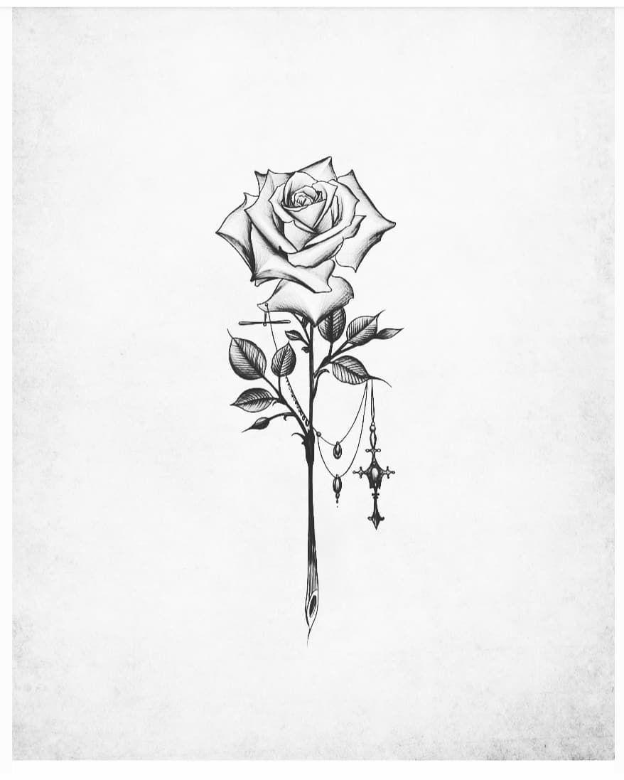 A Imagem Pode Conter Desenho E Planta Rose Drawing Tattoo