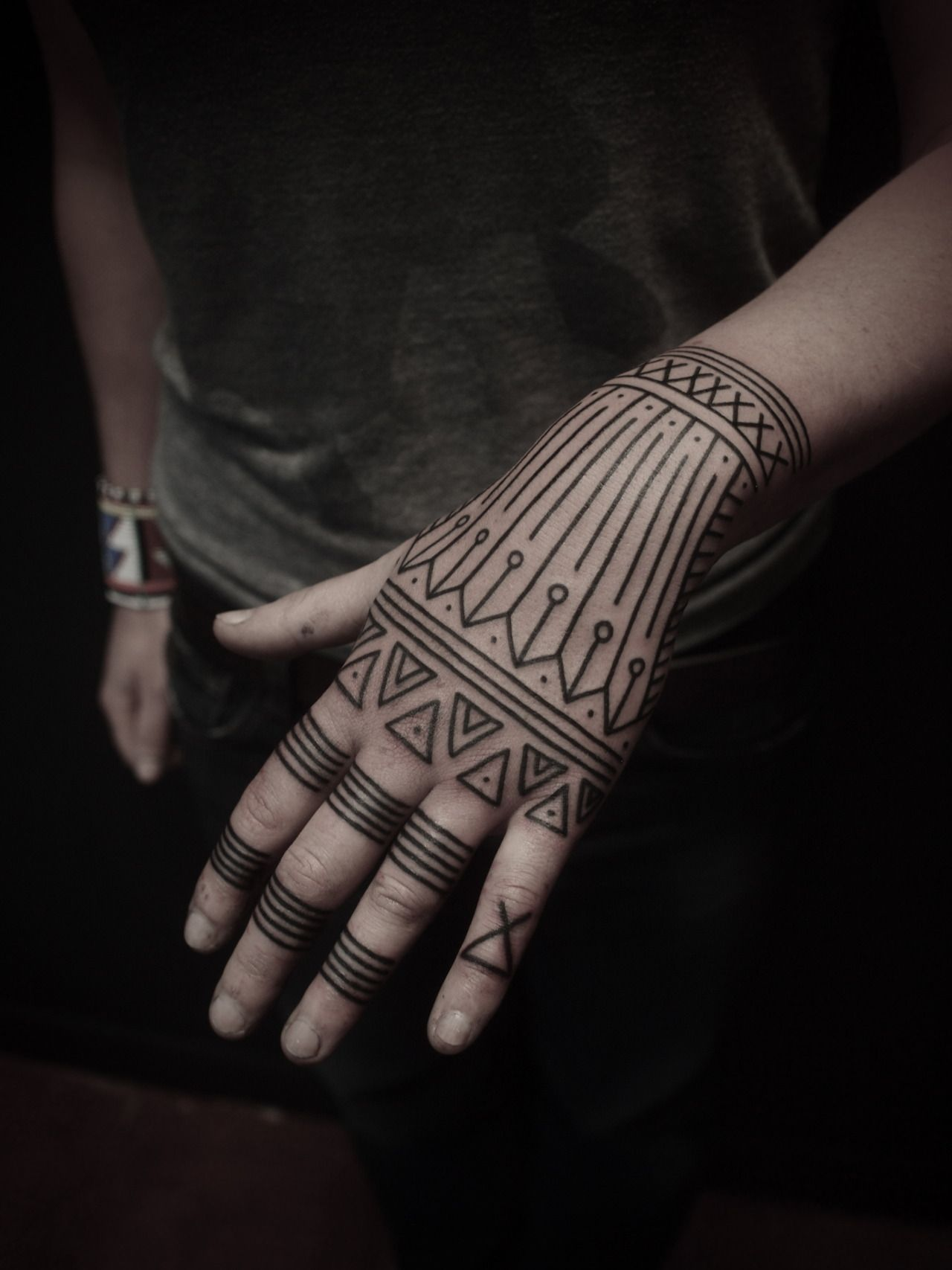 Hand Tattoo Shape Line Geometry Band Bar Tribal Tattoo