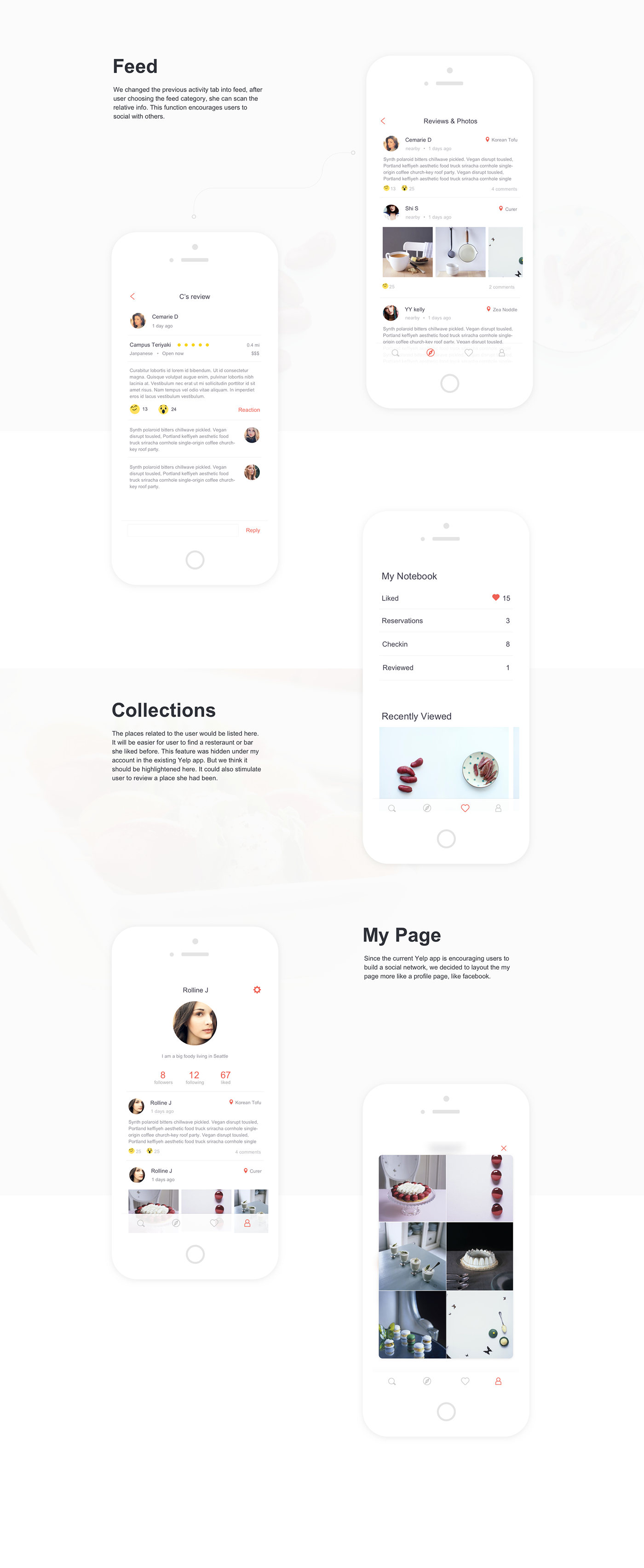 Yelp App Redesign on Behance Android app design, Ios app