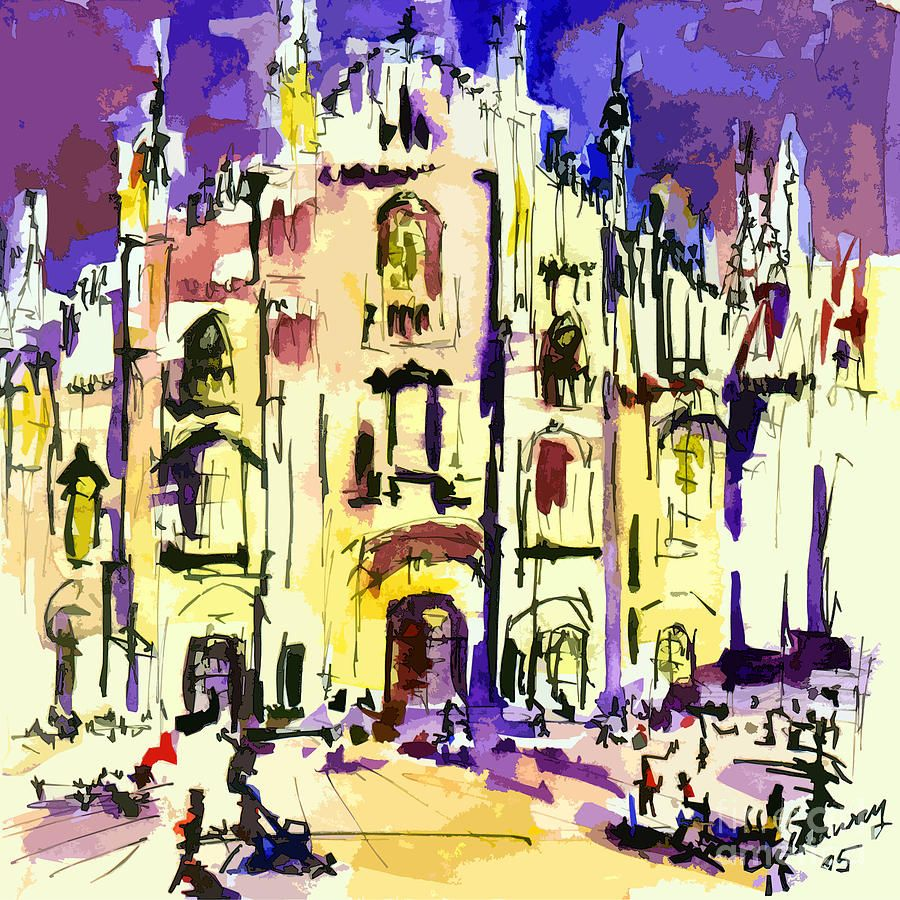 Milan Italy Cathedral Abstract Art By Ginette Painting - Milan Italy ...