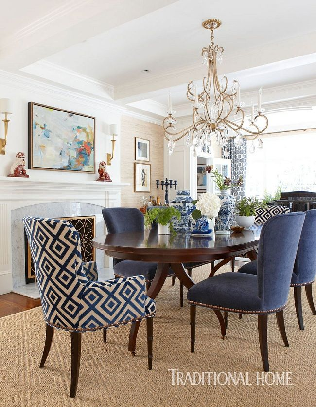 Beautiful Blue Dining Rooms: Inside A Bold And Beautiful New England Home!