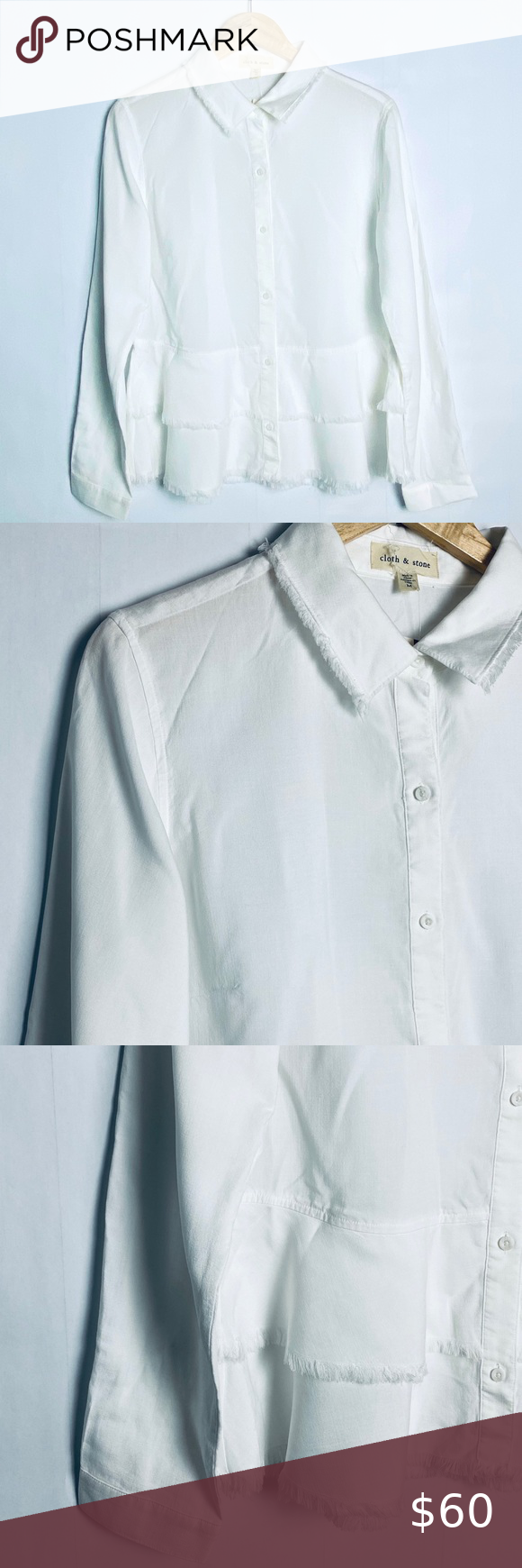 Anthropologie Cloth Stone Frayed Hem Shirt In 2020 Hem Shirt Seam Shirts Stoned Shirts
