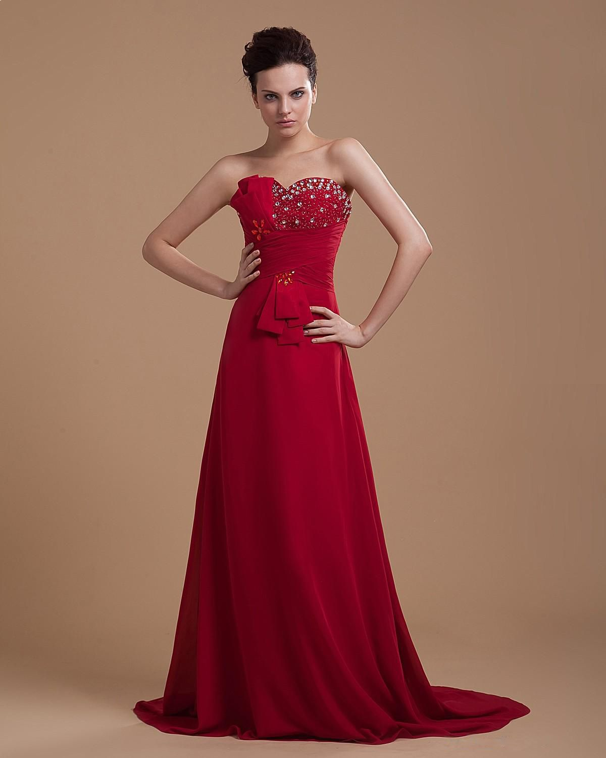 Sweetheart floor length chiffon prom dress with beaded details in