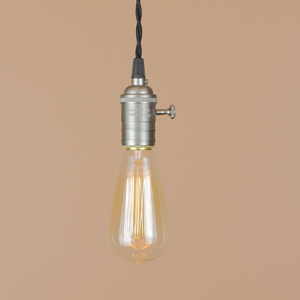 Bare Bulb Pendant Light - Satin Nickel Finish - Antique Style Reproduction Wire - Minimalist Home Decor - Edison Light Bulb. $78.00, via Etsy.
