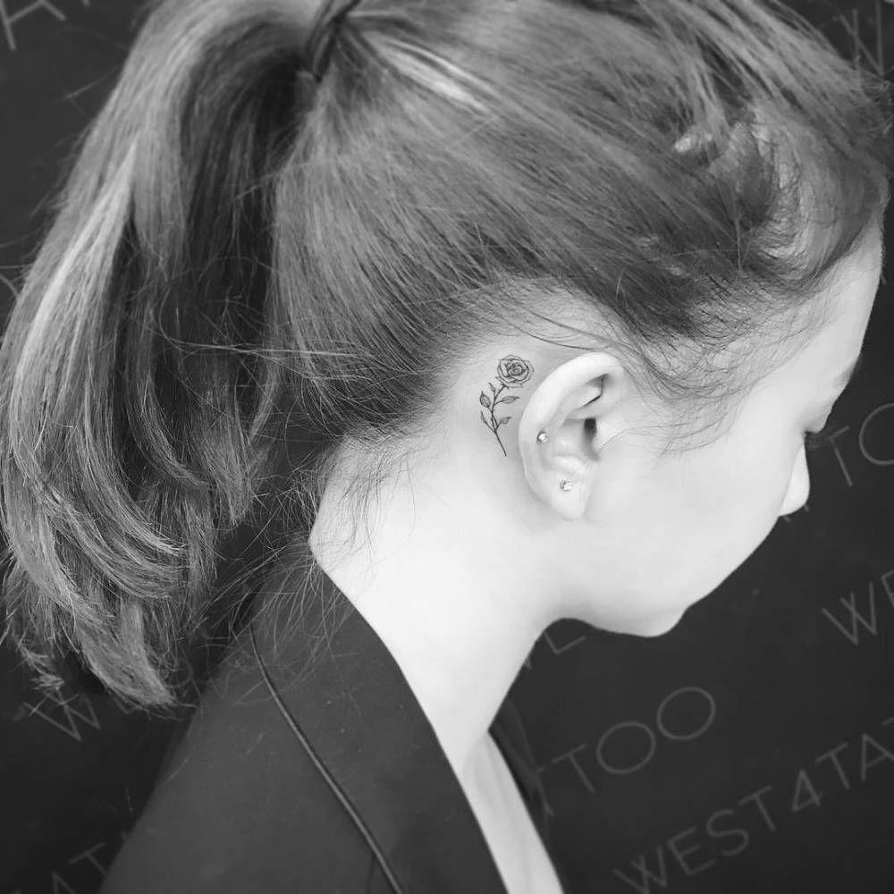 Rose Tattoo Behind The Right Ear Tattoo Ideas Tattoos Rose