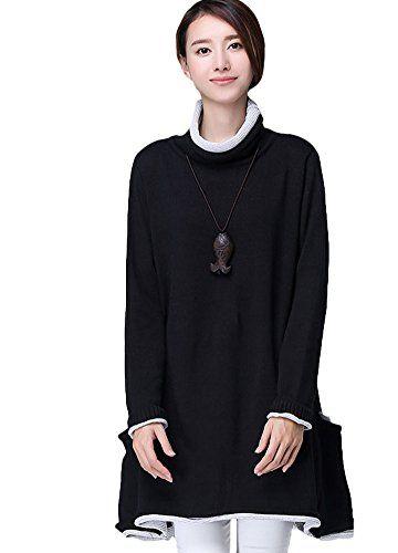 9c8136fa19add Minibee Women s Long Sleeve Turtleneck Sweater Dress with Two Side Pockets  Black Minibee http