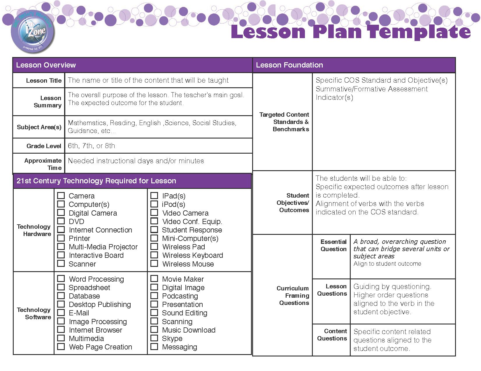 Lesson plan template unit plan lesson plan templates for Lesson preparation template