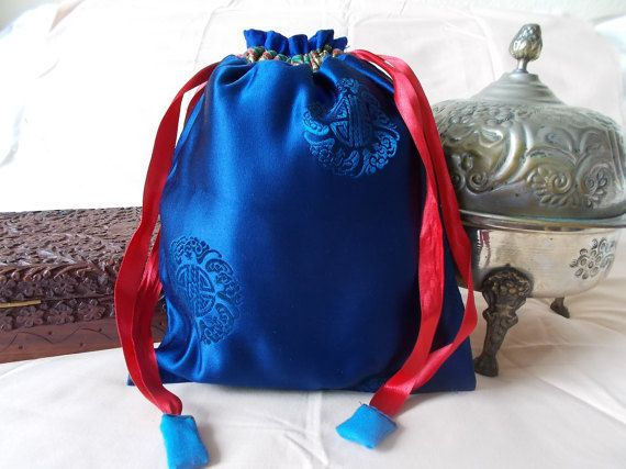 Chinese drawstring bag dark blue with royal by EcoTurtleUpcycling
