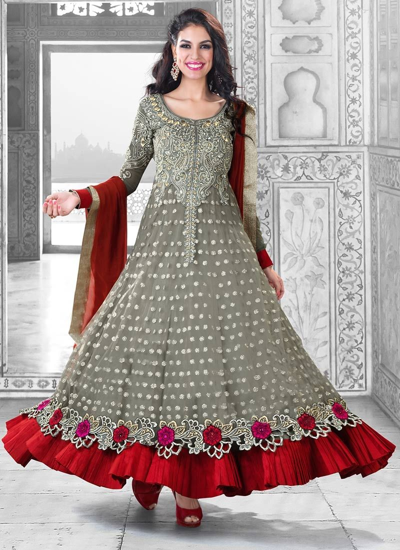 Grey Faux Georgette Gorgeous Long Anarkali Suit | anarkali ...