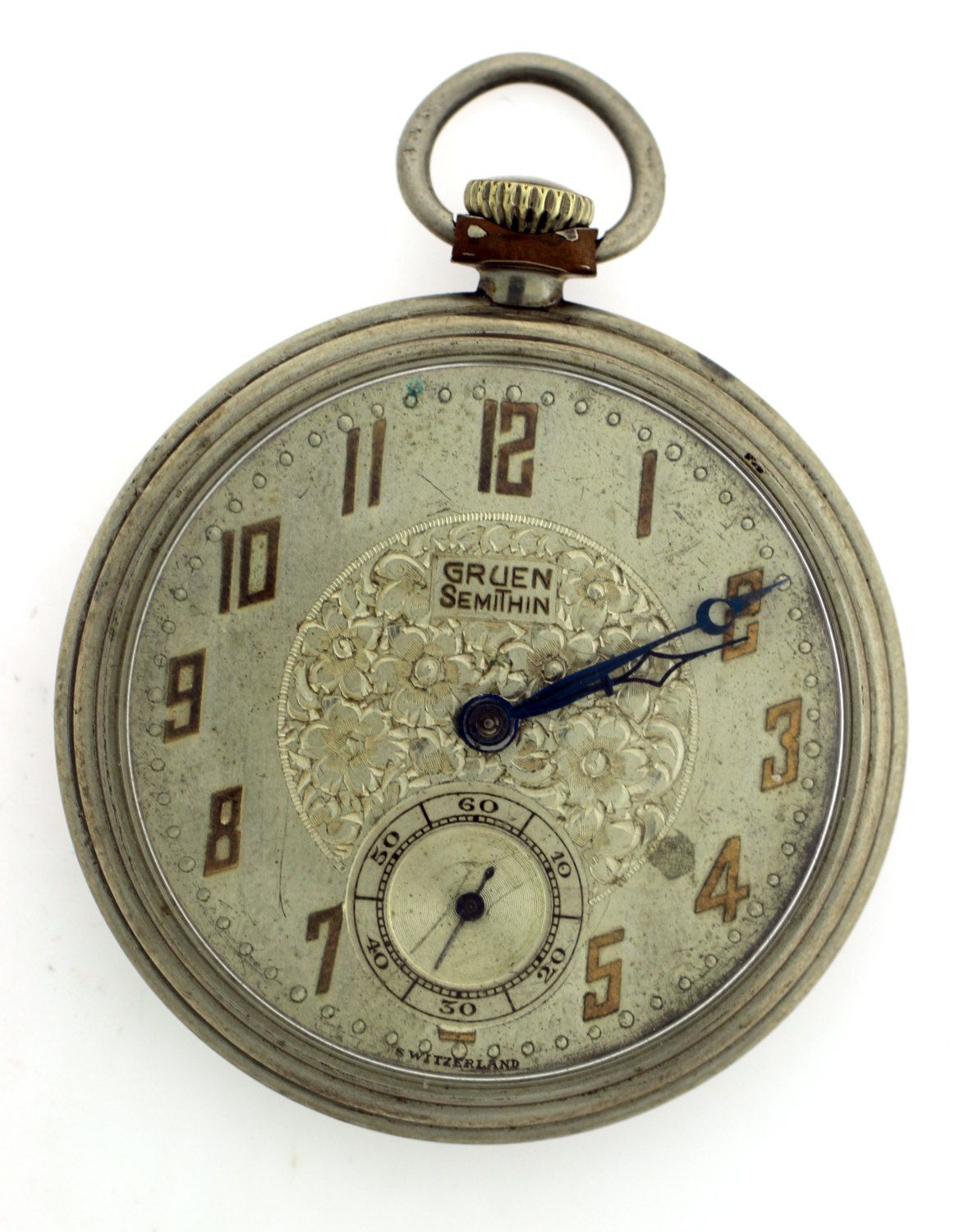 Vintage Gruen SemiThin Pocket Watch with Champagne Dial by WhitesVintage on Etsy