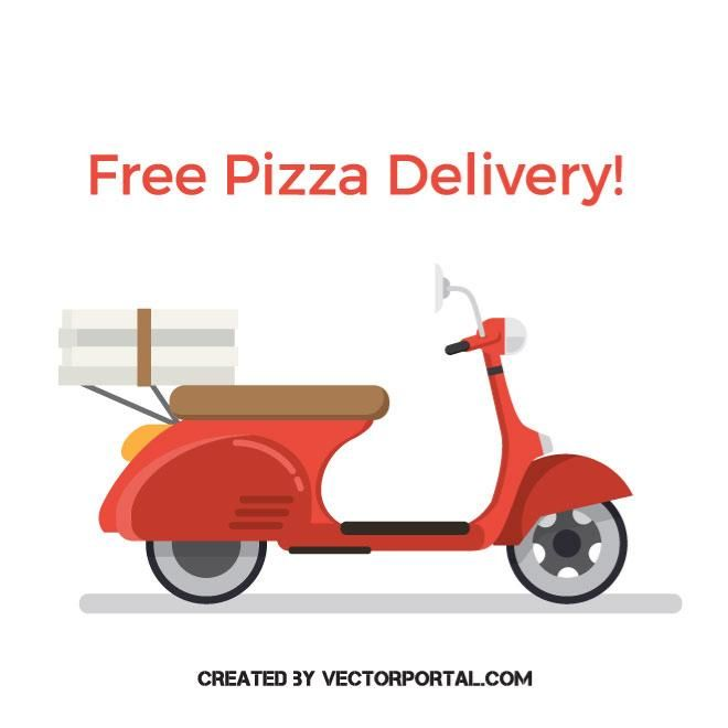 pizza delivery scooter vector image pinterest