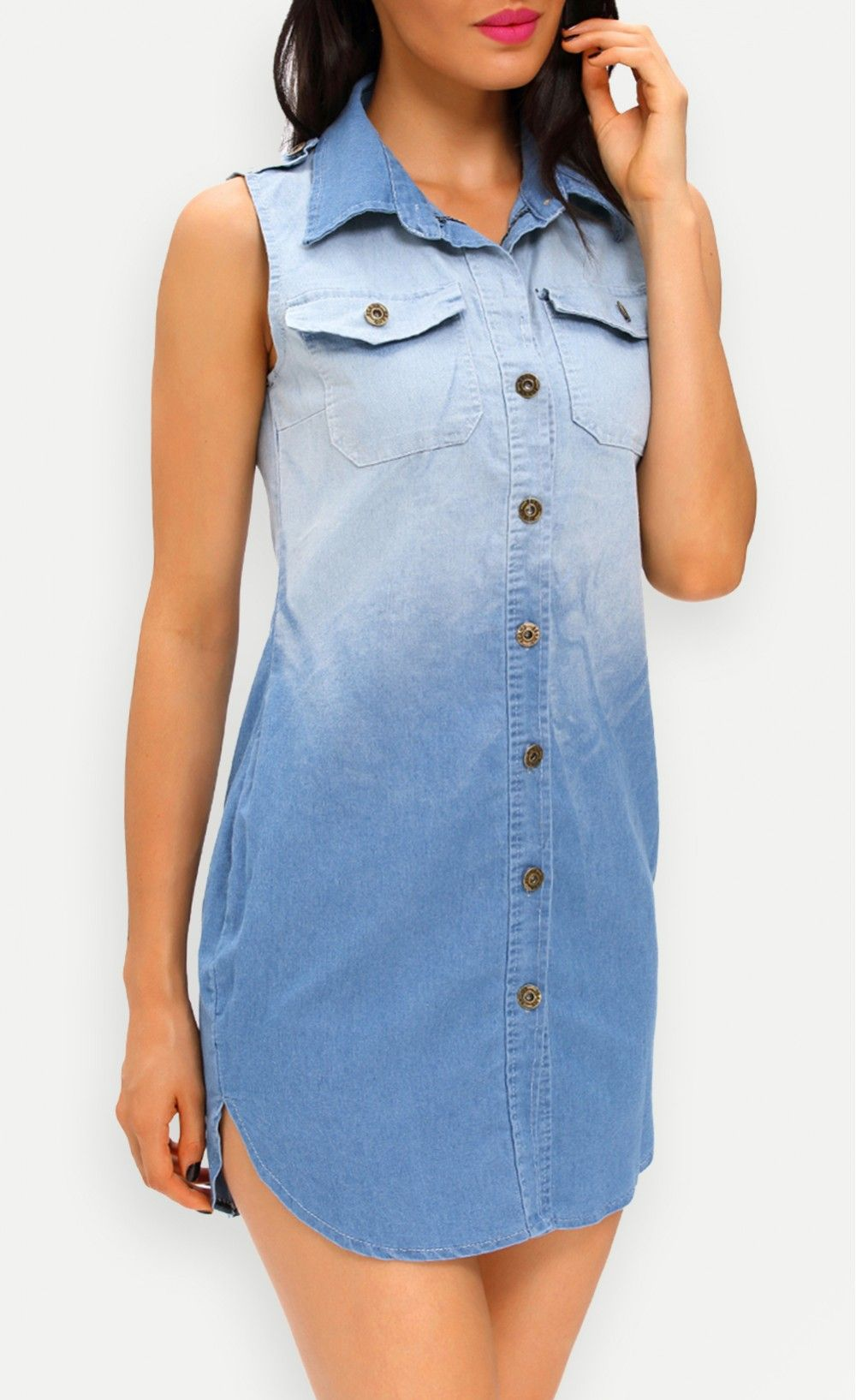 Button down sleeveless denim shirt dress with images