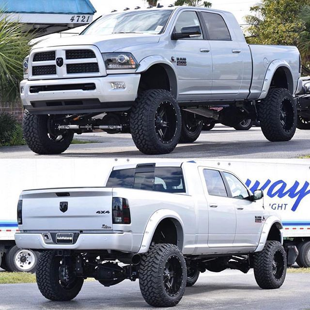 "2014 Lifted Ram Mega Cab 2500: #mulpix @calcustoms 2016 Ram 2500 Mega Cab. 8"" BDS 4- Link"