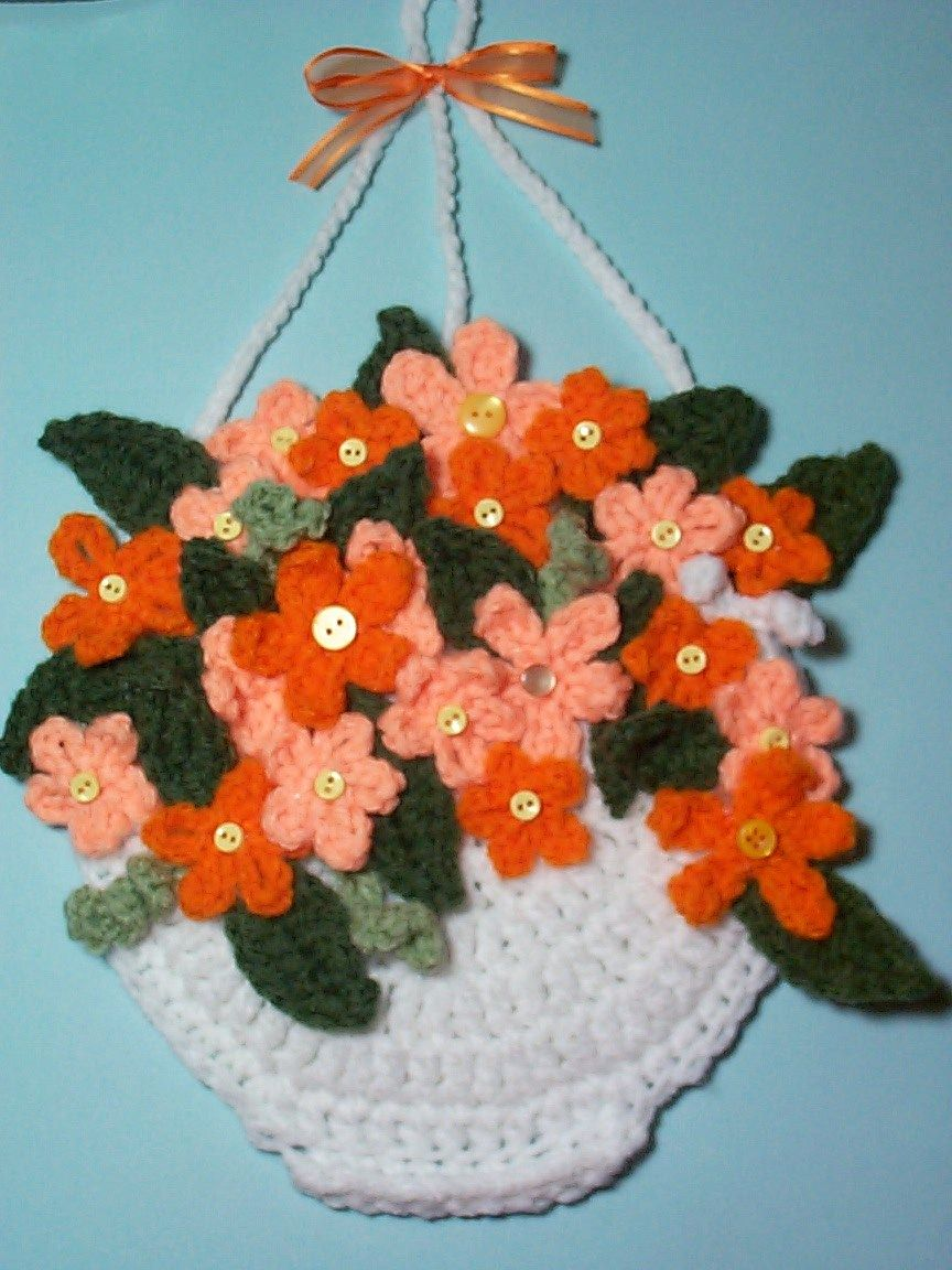 Crochet Decorative Hanging Basket Flowers Potholder Wall Hanging Handmade