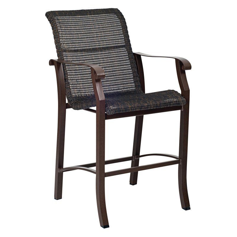 Woodard Cortland Woven Stationary Bar Stool - 5V0481 ... on Living Accents Cortland Patio Set id=63470