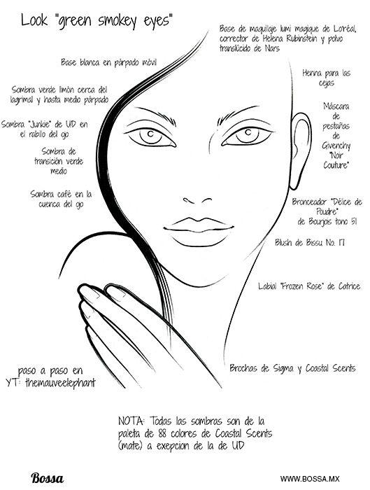 """Como lo prometí la semana pasada este es un face chart de un look muy simple en tonos verdes. [lightbox link=""""http://www.bossa.mx/wp-content/uploads/2013/06/face-chart-green-smokey-eye-blog1.jpg""""][/lightbox] Face chart No es necesario que pongas base y corrector en toda la cara, simplem"""