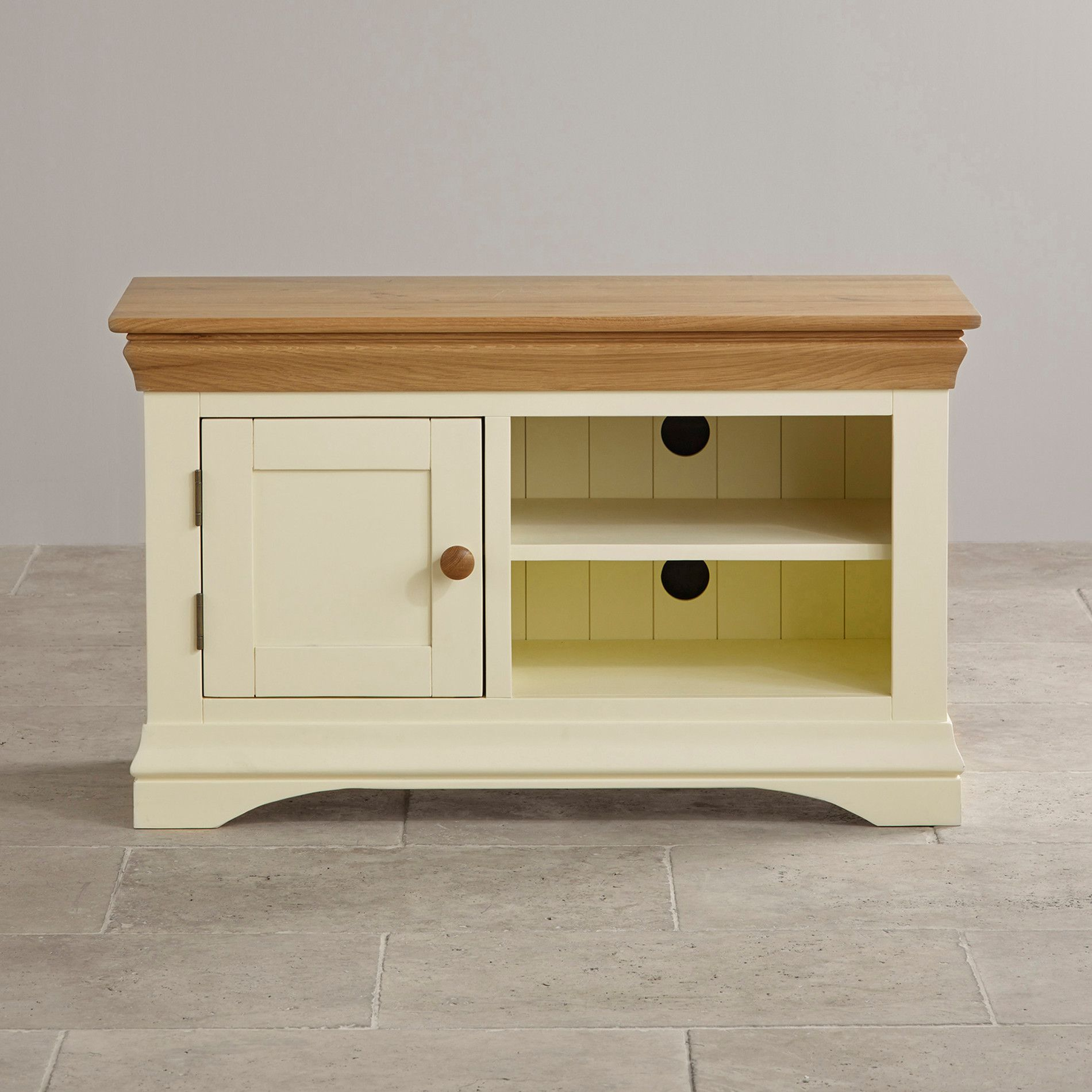 High Quality Country Cottage Natural Oak And Painted Small TV Cabinet