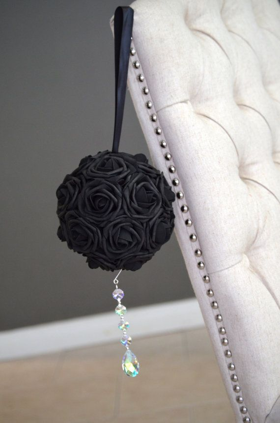 Black flower ball with crystal bling ornament wedding centerpiece black flower ball with crystal bling ornament wedding centerpiece flower girl church pews wedding decor pick your color junglespirit Image collections