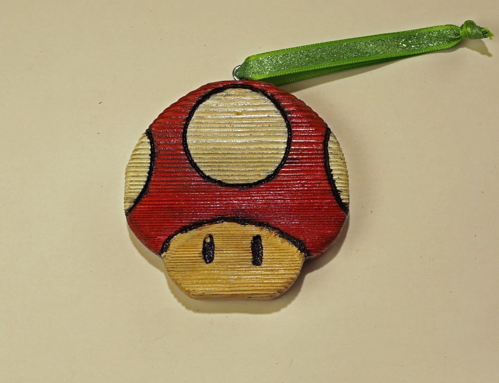 DeTiki Hand Carved TOAD Ornament Super Mario Nintendo Video Game NES Reclaimed W
