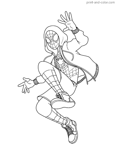 Miles Spiderman Coloring Page