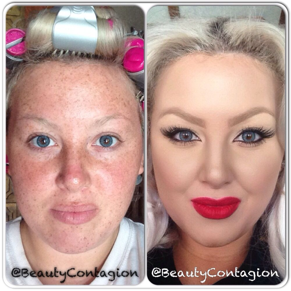 Before and After makeup transformation Dinair airbrush