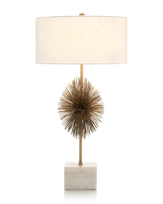 Starburst Brass Plated Table Lamp With White Marble Base. 1 Way, 60 Watt  Max Type A Bulb, Gold Harp