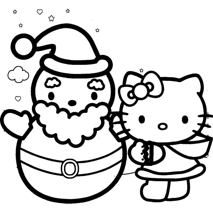 Hello Kitty And Snowman Happy Christmas Coloring Page Hello