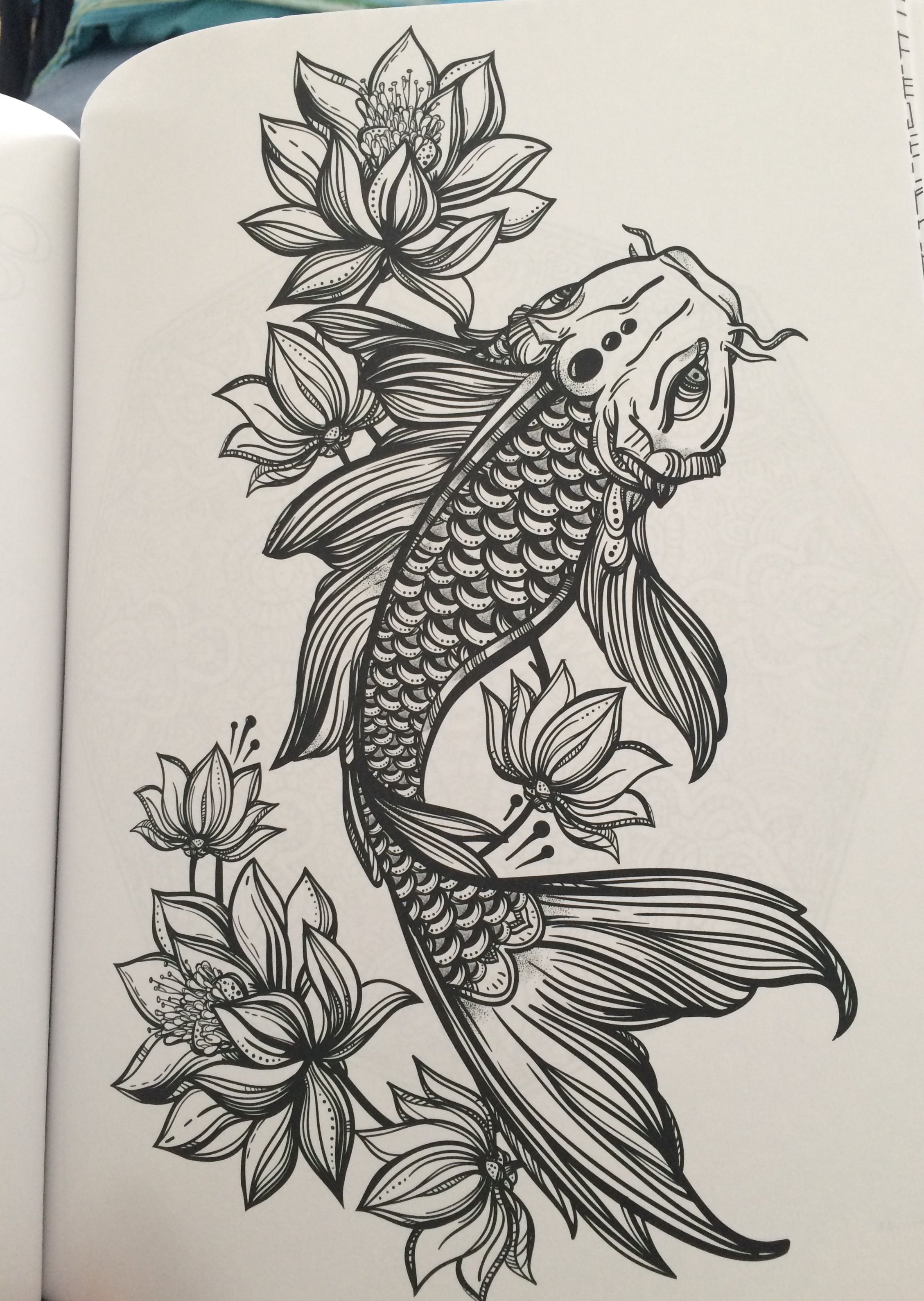 Koi and lotus flowers from my coloring book tattoo for Black koi fish meaning